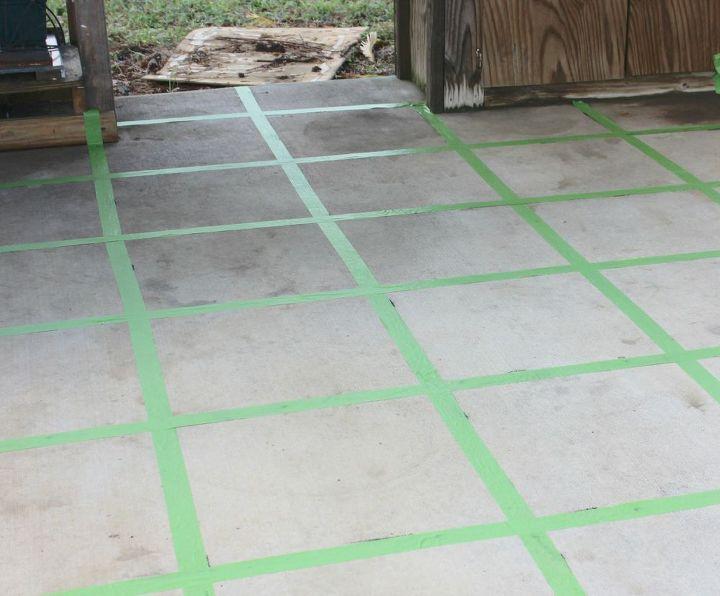 The Flip That Was Almost A Flop Faux Tile Floor 30dayflip Concrete Masonry Flooring
