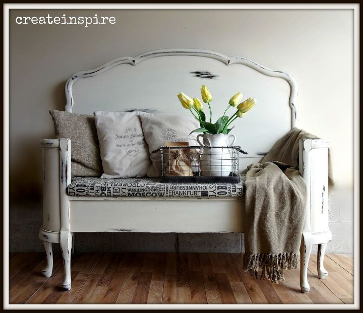 Antique Headboard To Bench Painted Furniture Repurposing Upcycling Reupholster
