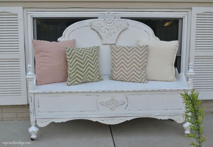 old bed makes charming bench, painted furniture, repurposing upcycling