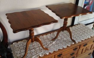 q can you please identify the style era wood of these 2 end tables, home decor, painted furniture, repurposing upcycling