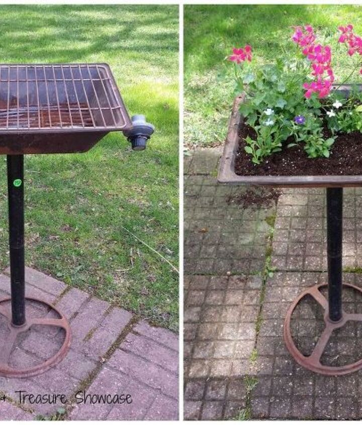 bentley grill planter, container gardening, flowers, gardening, repurposing upcycling