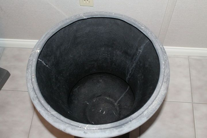 q what can i place inside this planter in order to use less soil, container gardening, gardening, home decor
