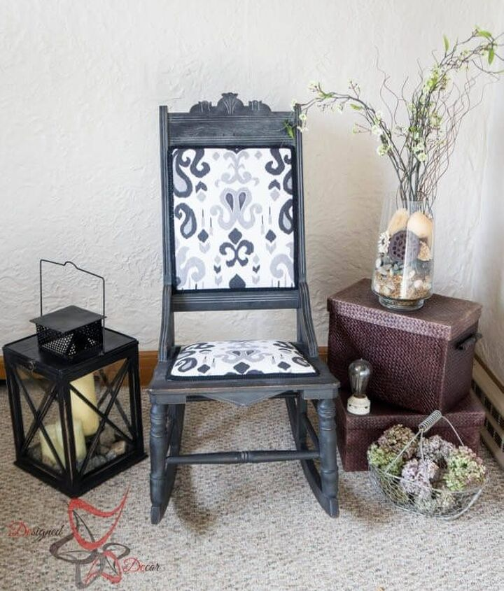 antique rocker given a second life, painted furniture, repurposing upcycling, reupholster