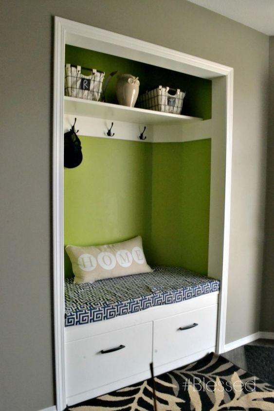 front entry makeover, closet, diy, foyer, how to, organizing, reupholster