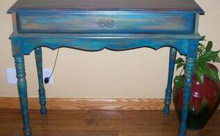 repainted wood desk, painted furniture