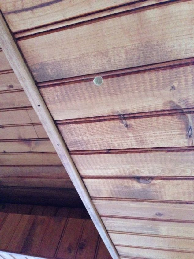 q how do i keep carpenter bees from boring holes in my new outdoor space, outdoor living, pest control, Carpenter bee holes Seven so far
