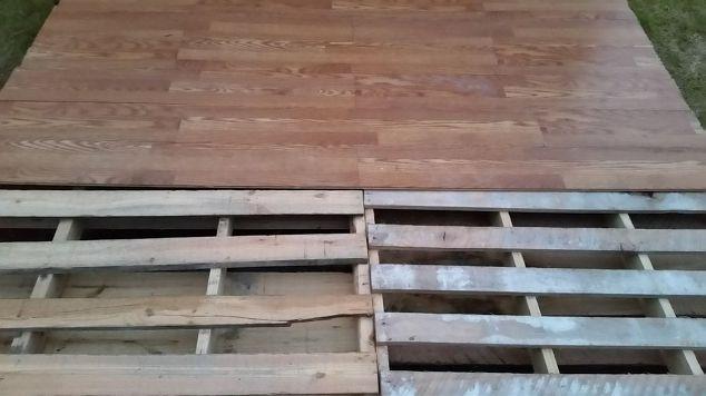 Diy pallet basketball court hometalk for Pallet outdoor flooring