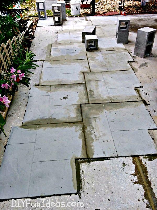 Gorgeous diy stamped concrete tile driveway for less hometalk gorgeous diy stamped concrete tile driveway for less concrete masonry curb appeal diy solutioingenieria Choice Image