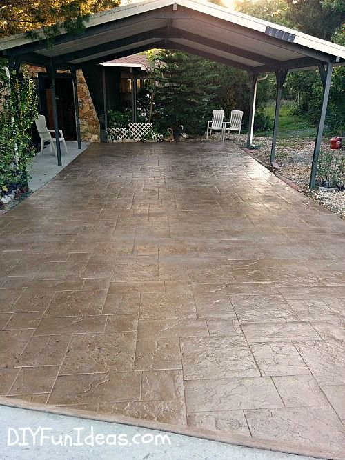 orgeous DIY Stamped Concrete Tile Driveway on a Tight Budget | Hometalk