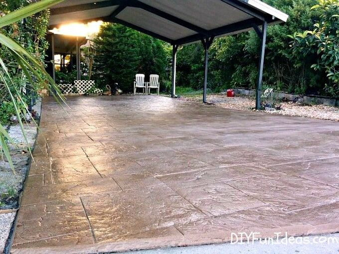 Orgeous Diy Stamped Concrete Tile Driveway On A Budget