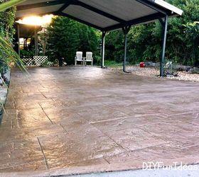 gorgeous diy stamped concrete tile driveway for less concrete masonry curb appeal diy