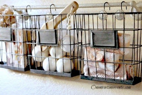 Ideas For Using Industrial Wire Basket In The Home Hometalk - Bathroom hanging baskets for small bathroom ideas