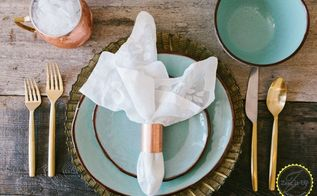 industrial copper napkin rings, dining room ideas, repurposing upcycling