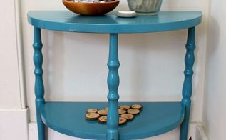 vintage demilune console table makeover, painted furniture, repurposing upcycling