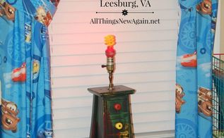 a lightning mcqueen cars inspired thrift store lamp upcycle, crafts, lighting, repurposing upcycling