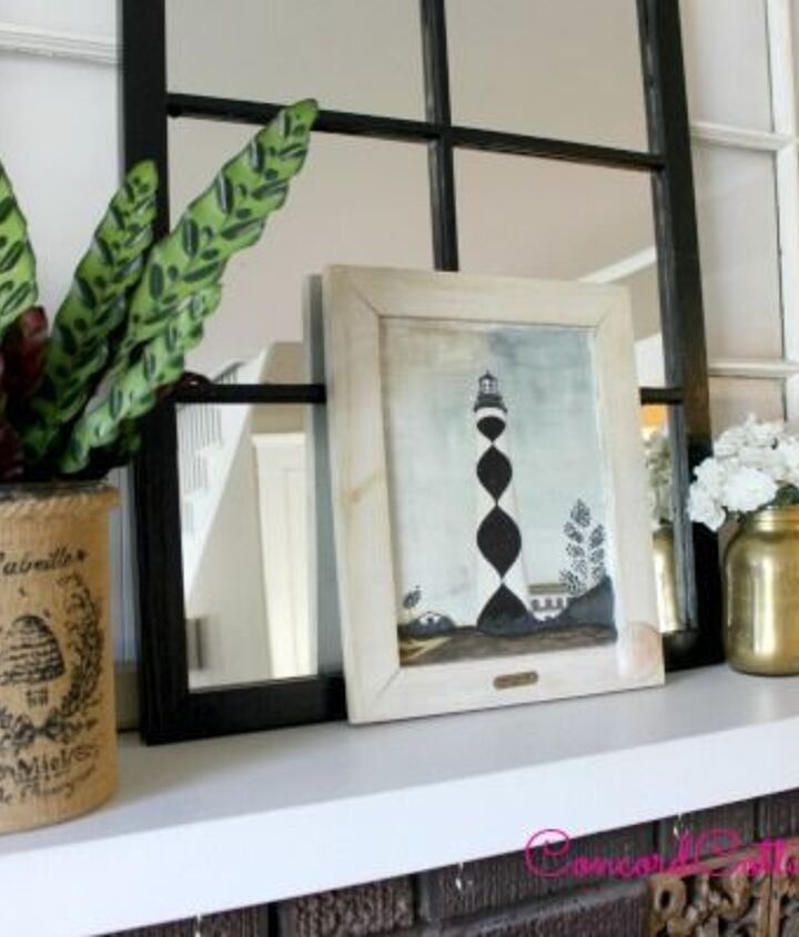 summer mantel, fireplaces mantels, repurposing upcycling