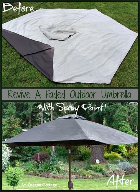 Refresh A Faded Outdoor Umbrella With Spray Paint Furniture Painting Repurposing Upcycling