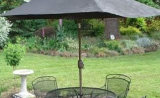 refresh a faded outdoor umbrella with spray paint, outdoor furniture, painting, repurposing upcycling