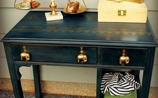 the golden elephant navy and gold desk makeover, painted furniture, repurposing upcycling