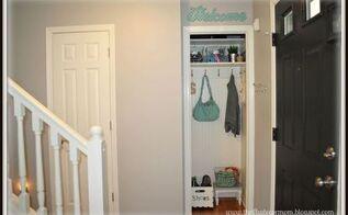 coat closet turned mini mudroom, closet, foyer, organizing