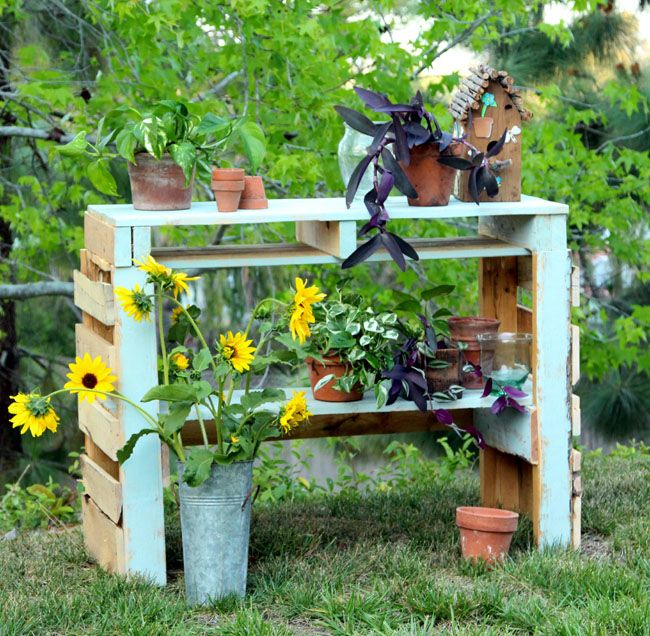 two pallet potting bench, gardening, outdoor furniture, painted furniture, pallet, repurposing upcycling