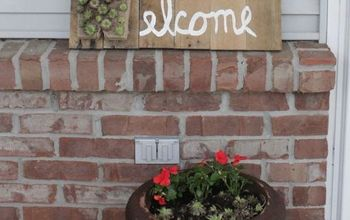 succulent welcome sign, container gardening, diy, flowers, pallet, porches, repurposing upcycling, succulents