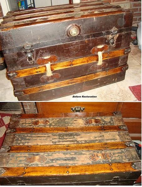 steamer trunk redo, decoupage, painted furniture, repurposing upcycling, storage ideas