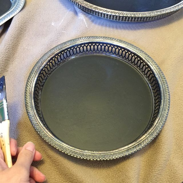 silver serving tray chalkboard, chalkboard paint, crafts, how to, repurposing upcycling