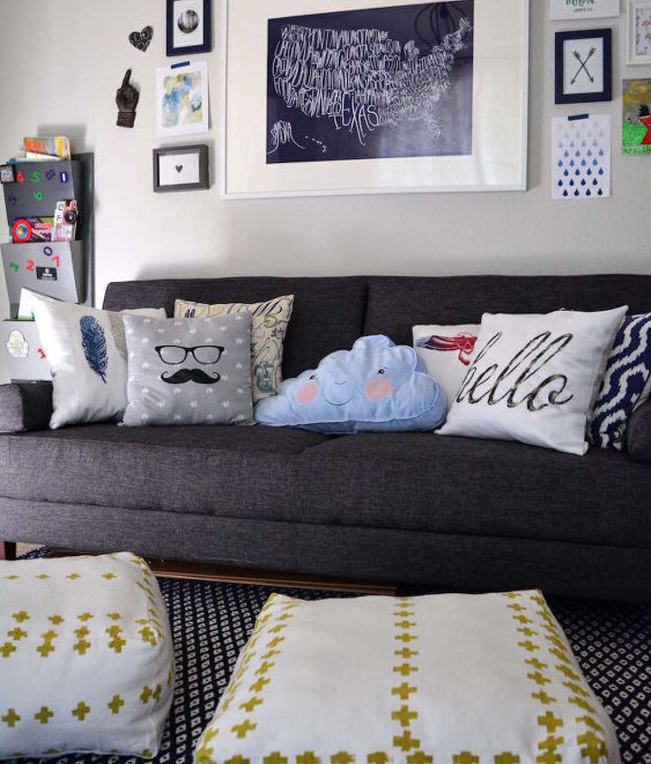 Most of the pillows are from scrap fabric.