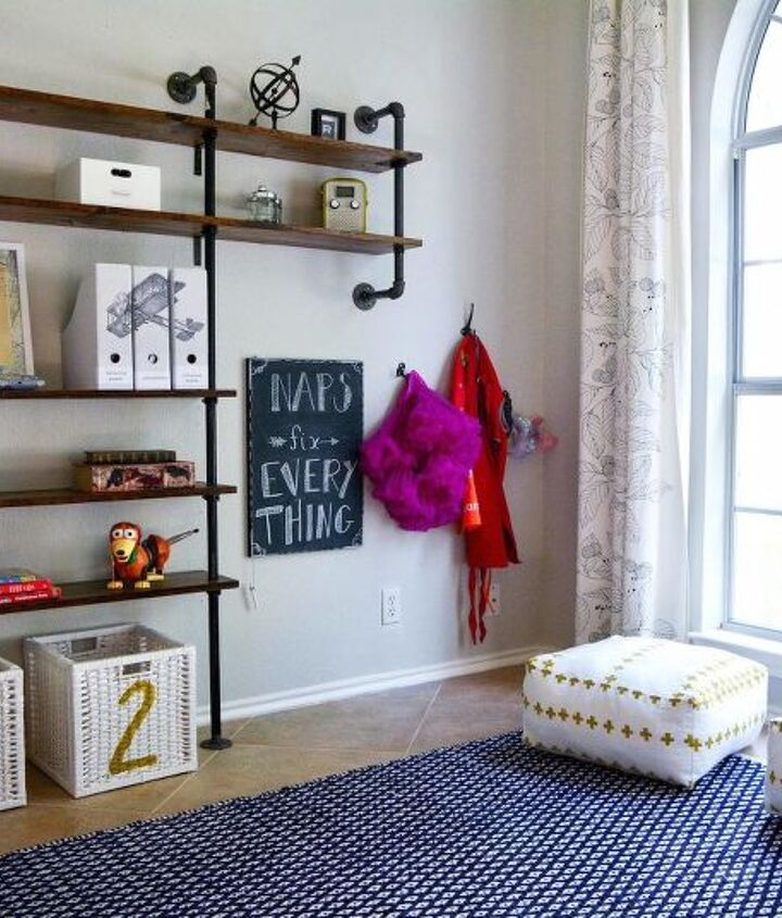 DIY poufs and hooks for dress-up clothes.