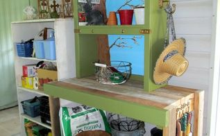upcycled and painted potting bench, gardening, outdoor furniture, painted furniture