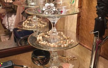 repurposed candle sticks to tiered jewelry tray for 6 00, crafts, how to, organizing, repurposing upcycling