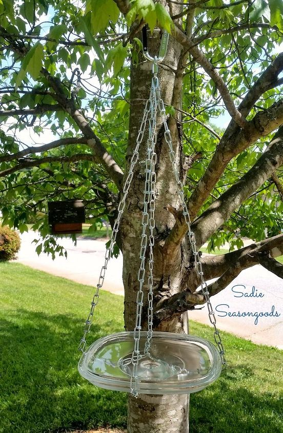repurposed glass lid hanging bird bath, gardening, how to, outdoor living, repurposing upcycling