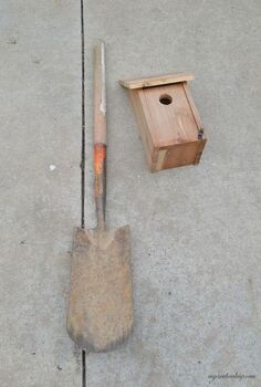 old shovel bird house stand, gardening, outdoor living, pets animals, repurposing upcycling