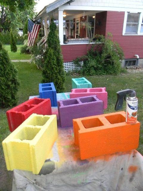 Cinder Block Bench Outdoor Furniture Living Patio Repurposing Upcycling Bring