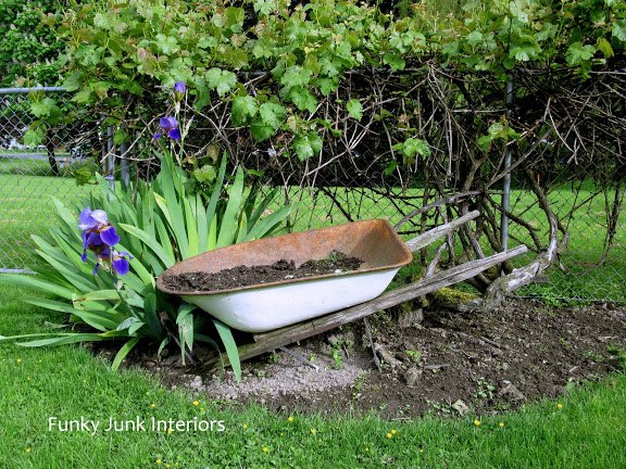repurposed junk filled summer garden, container gardening, gardening, landscape, lawn care, repurposing upcycling