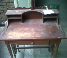 q antique desk id, painted furniture, repurposing upcycling