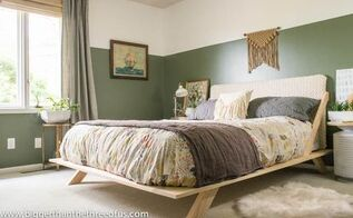 before after modern eclectic bedroom makeover, bedroom ideas, wall decor, woodworking projects