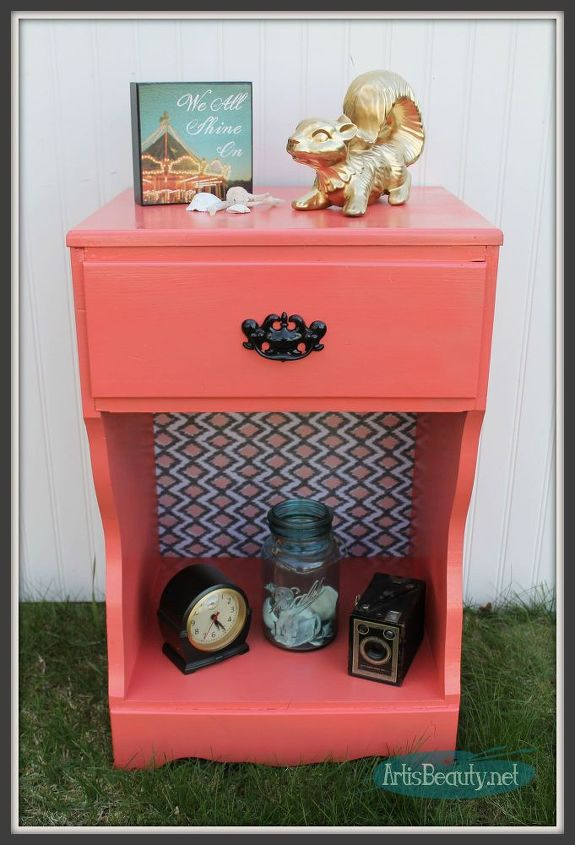 painted and decoupaged nightstand makeover, decoupage, painted furniture