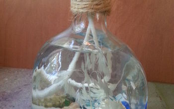 Liquor Bottle Repurpose--Coastal Candle
