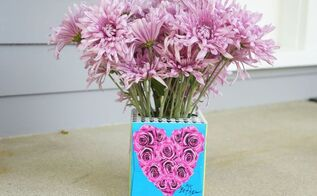tissue box flower vase, flowers, gardening, home decor, repurposing upcycling