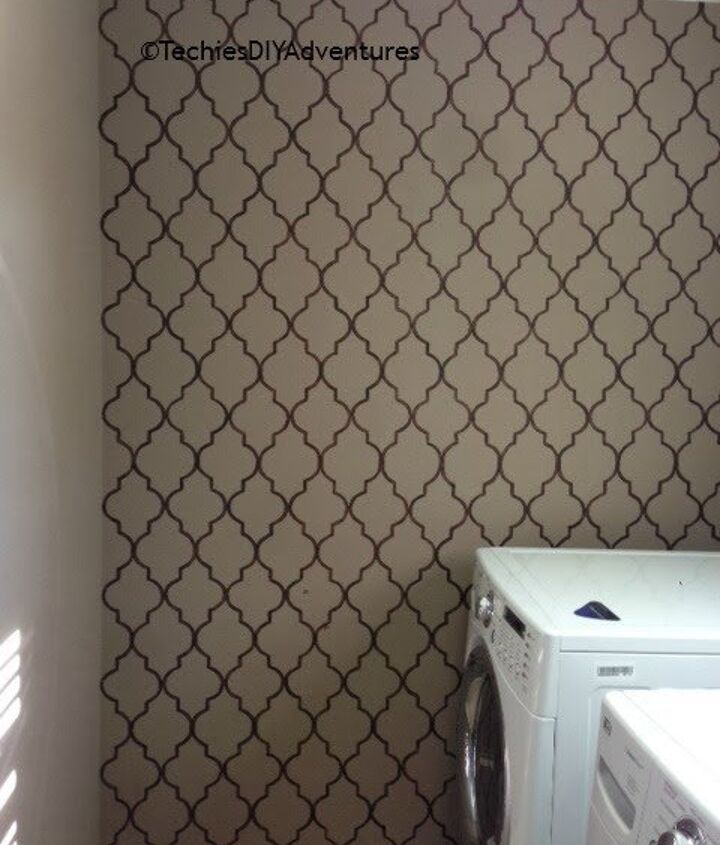 hand painted wallpaper in laundry room, laundry rooms, repurposing upcycling, wall decor