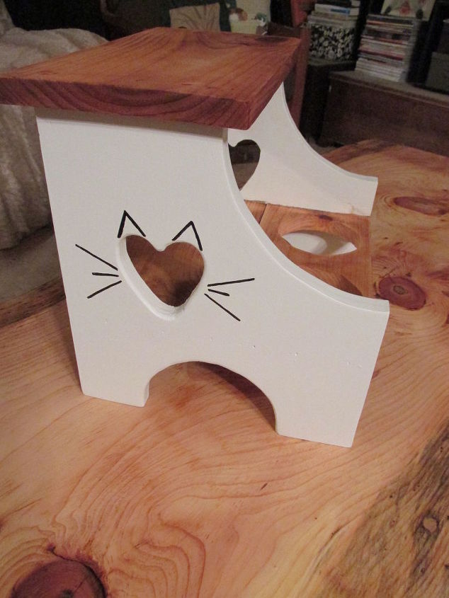 repurposed foot stool to cat feeder, pets animals, repurposing upcycling, woodworking projects