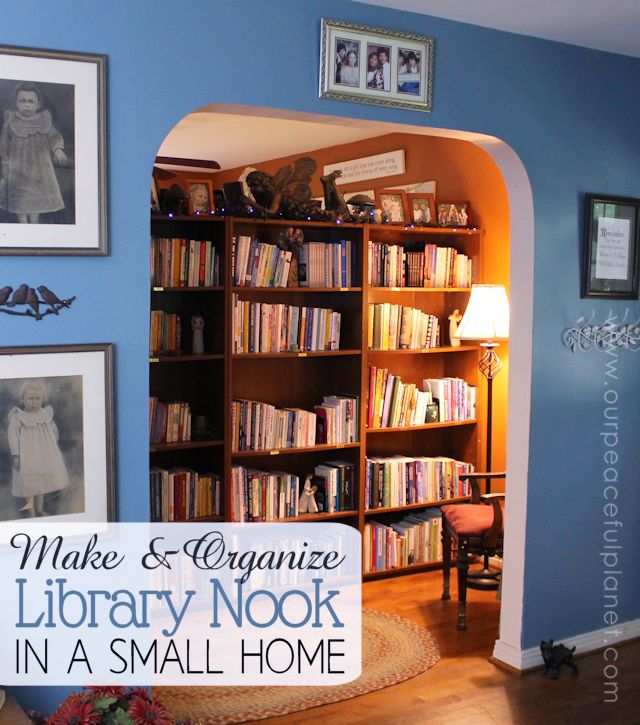 50 Ideas To Organize A Home Library In A Living Room: Tiny Home Library Nook