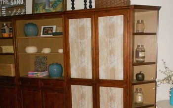 Cabinet With Glass Doors Makeover With Wallpaper