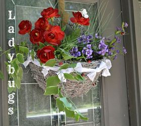 Front Door Moss And Flowers Basket, Crafts, Patriotic Decor Ideas, Seasonal  Holiday Decor