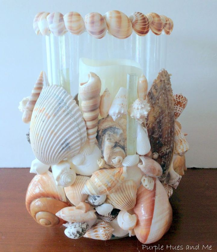 seashell hurricane votive diy, crafts, how to, repurposing upcycling