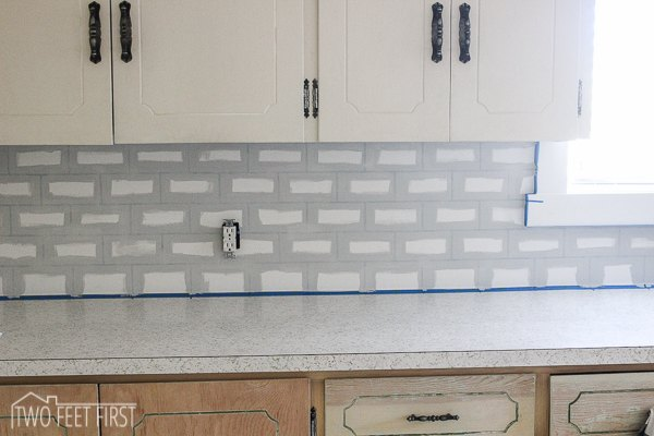 diy cheap subway tile backsplash hometalk. Black Bedroom Furniture Sets. Home Design Ideas