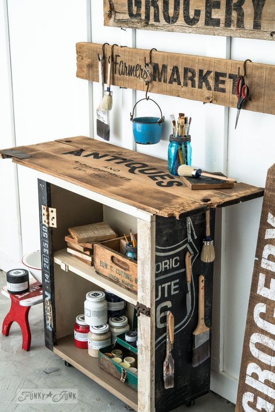 from ugly cupboard to creative paint cart, crafts, how to, painted furniture, repurposing upcycling
