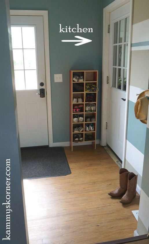 mudroom makeover gutting and starting over, foyer, home improvement, paint colors, painted furniture